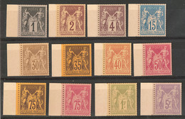 (*) Tirage Sur Bristol. 1c Noir, 2c Brun, 4c Brun, 15c Bleu, 30c, 35c, 40c, 50c, 75c Violet Et Rose, 1f Et 5f, Tous Bdf, - 1876-1878 Sage (Typ I)