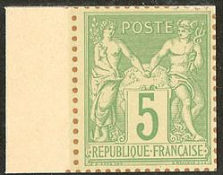 (*) Tirage Sur Bristol. 5c Vert-jaune, Bdf, Superbe. - R - 1876-1878 Sage (Typ I)