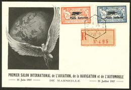Lettre Nos 1 + 2, Obl Marseille Aviation 25.6.27 Sur Enveloppe Illustrée Recommandée. - TB - Zonder Classificatie