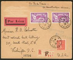 Lettre Ile De France. Catapulte. Poste 204 + 240(2), Obl 1.8.28 Sur Enveloppe Tarif Imprimés Recommandés, Pour Washingto - Zonder Classificatie