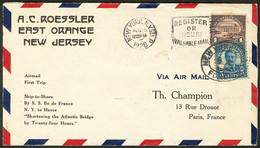 Lettre Ile De France. Catapulte. 1er Voyage Retour NY-Paris. Afft USA 232 + 246 Obl 15.8.28 Sur Enveloppe Avec Griffe Sp - Zonder Classificatie