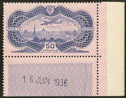 ** Burelage Renversé. No 15b, Cdf Daté 16 Juin 1936, Aminci Sur Le Bdf. - TB. - R - Zonder Classificatie