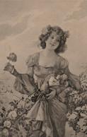Belle Illustrée Viennoise : Jolie Femme Cueillant Des Roses - Frauen