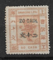 1888 SHANGHAI 20 CASH SURCH IN GREEN BLUE ON 80 CASH MINT H CHAN LS120 $32 - Unused Stamps