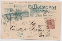 1905 TRAPANI SPLENDIDA CARTOLINA COMMERCIALE ARCERI CON PORTO TRAPANI - Trapani