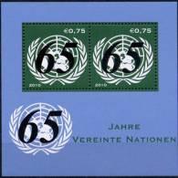 ONU Vienne 2010 ** Feuillet 65éme Anniversaire De L'ONU - Blocks & Kleinbögen