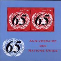 ONU Genève 2010 ** Feuillet 65éme Anniversaire De L'ONU - Blocks & Kleinbögen