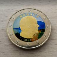 MONACO 2012 -  2 EUROS DE LA SERIE  -  VERSION COULEUR COLORED COLOR IN FARBE COLORATI - Monaco