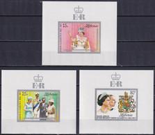 LIBERIA 1977, Mi# 1038-1040, Set Of 3 Miniature Sheets DeLuxe, Queen Elizabeth Silver Jubilee - Liberia