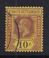 Straits Settlements: 1921/33   KGV    SG231ba    10c   Purple/bright Yellow   [Die I]    Used - Straits Settlements