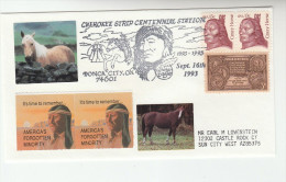 1993 Ponka City  CHEROKEE NATIVE AMERICAN INDIANS HORSE EVENT COVER Usa Stamps Horses Indian - Indiani D'America