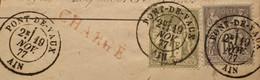 R1311/1061 - SAGE TYPE I N°72 + TYPE II N°77 ►►► SUPERBES CàD De PONT-DE-VAUX (Ain) Du 19 NOVEMBRE 1877 - 1876-1878 Sage (Typ I)