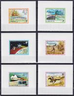 LIBERIA 1974, Mi# 907-912, Deluxe Blocks, Ship, UPU, Aviation, Space - Liberia