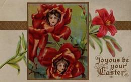 Belle Illustrée Gaufrée Dorée : Visages De Femmes Dans Des Roses Rouges - Frauen