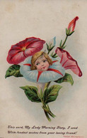Très Belle Illustrée Gaufrée : Visage D'enfant Dans Des Liserons - Abbildungen
