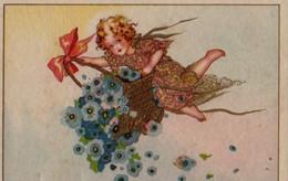 Très Belle Illustrée Style BUSI : Petite Fille Au Panier De Fleurs Bleues - Abbildungen