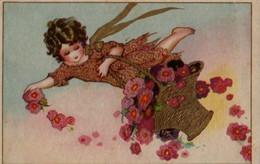 Très Belle Illustrée Style BUSI : Petite Fille Au Panier De Fleurs Roses - Abbildungen