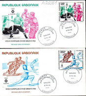 GABON A 260/61 Fdc JO Sarajevo Yougoslavie, Hockey Sur Glace, Patinage Artistique, Cachet Illustré - Invierno 1984: Sarajevo