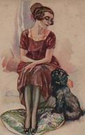 Belle Illustrée Signée TERZI : Femme Au Caniche - Frauen