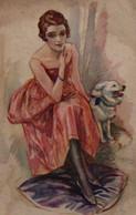 Belle Illustrée Signée TERZI : Femme Au Loulou - Frauen