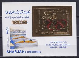 SHARJAH 1968, Mi# Bl 46, Golden Foil, Sport, Olympics Mexico, MNH - Estate 1968: Messico