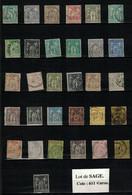 Lot De SAGE - COTE YVERT 611 €UROS - 1876-1878 Sage (Typ I)