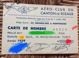 AÉRO-CLUB DU CANTON DE SCEAUX  Carte De Membre  ANNÉE 1939 - Altri