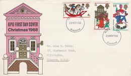 GB LETTRE FDC 1968 NOEL - 1952-1971 Dezimalausgaben (Vorläufer)