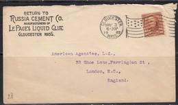 Sur Enveloppe Russia Cement Co. Pour Londres CAD Gloucester 1902. CAD London EC AH Timbre Webster 10 C Brun - Marcophilie