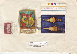 PIETROASA TREASURE, TOWN HALL, PAINTING, STAMPS ON COVER, 1981, ROMANIA - Lettere