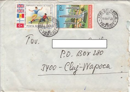 SOCCER WORLD CUP, OIL WELLS, STAMPS ON COVER, 1987, ROMANIA - Lettere