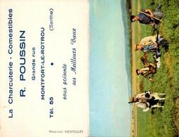 Calendrier 1957 : Illustration Sur La Chasse Et Publicité Charcuterie Sarthe Montfort Le Rotrou - Petit Format : 1941-60