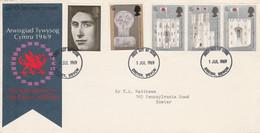 GB LETTRE FDC 1969 INVESTITURE DU PRINCE DE GALLES - 1952-1971 Dezimalausgaben (Vorläufer)
