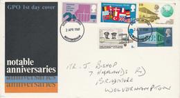 GB LETTRE FDC 1969 ANNIVERSAIRES DIVERS - 1952-1971 Dezimalausgaben (Vorläufer)