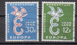 Saarland Europa Cept 1958 Gestempeld - Bizone