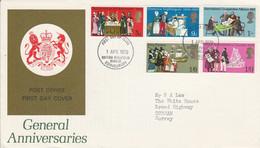 GB LETTRE FDC 1970 COMMEMORATIFS - 1952-1971 Dezimalausgaben (Vorläufer)