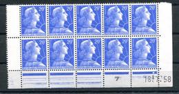 RC 21425 FRANCE N° 1011B COIN DATÉ DU 18.7.58 DANS UN BLOC DE 10EX NEUF ** MNH - 1950-1959