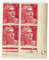 MARIANNE DE GANDON  5 F  -    Y & T N° 719 A   -  COINS DATES   6 1 47   -  SANS TRACE DE CHARNIERE - 1940-1949