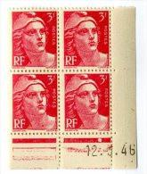 TYPE MARIANNE DE GANDON    3 F    -  Y & T N° 716  -  COINS DATES   12 3 46   -  SANS TRACE DE CHARNIERE - 1940-1949