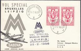 Belgien Sonderflug, Luftpost, Brüssel- Leipzig, Belgien, Paar Mi.Nr. 1035, Gelaufen 1956 - Luchtpost