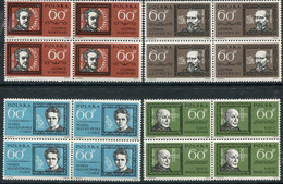 POLAND 1963 Personalities Blocks Of 4  MNH / **.   Michel 1411-14 - Unused Stamps