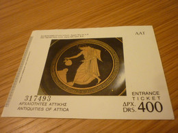 Antiquities Of Attica Museum Admission Greek Ticket (Red-figured-attic Kylix-early 5th Cent BC) - Tickets - Vouchers