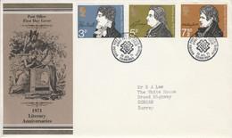 GB LETTRE FDC 1971 ANNIVERSAIRES LITTERAIRES - 1952-1971 Dezimalausgaben (Vorläufer)