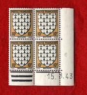 ARMOIRIE  BRETAGNE    -   10f   Y & T N° 573   -  COINS DATES   12 8 43   -  SANS TRACE DE CHARNIERE - 1950-1959