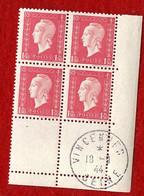MARIANNE DE DULAC   -   1.50f   Y & T N°  691   -  COINS DATES VINCENNES   10 9 44  -  SANS TRACE DE CHARNIERE - 1950-1959