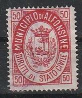 Alfonsine. 1930 - 35. Marca Municipale (marca Comunale) Diritti Stato Civile C.50, Carminio . 22 X 28 Mm. Dent.  11 1/2 - Altri