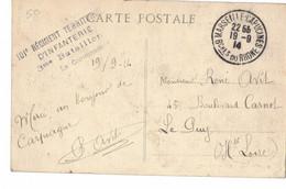 Cachet 101 Régiment Territorial D Infanterie 3 Me Bataillon Le Commandant Camp De Carpiagne - WW I