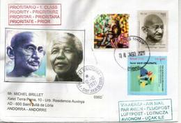 BRESIL. Hommage Au Mahatma Gandhi & Nelson Mandela, Année 2018,  Belle Lettre Brésil Adressée Andorra - Mahatma Gandhi