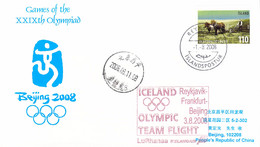 Iceland Flight Card 2008 Beijing Olympic Games - National Team Flying To Reykjavik, Frankfurt, Beijing Icelandair - Verano 2008: Pékin