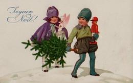Belle Illustrée : Deux Enfants, Sapin, Jouets - Gruppen Von Kindern Und Familien